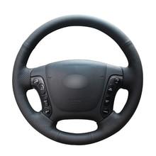 Black PU Artificial Leather Car Steering Wheel Cover for Hyundai Santa Fe 2007 2008 2009 2010 2011 2012