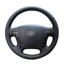 Protector de cuero Artificial para volante de coche, protector para volante de coche, color negro, para Hyundai Santa Fe 2007 2008 2009 2010 2011 2012