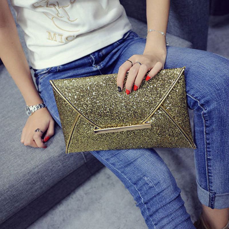 New Simple ladies Clutch Wallets Shine Sequin PU Leather Purse Fashion Women Envelope Bag Glitter Party Handbag Wedding Bag gift