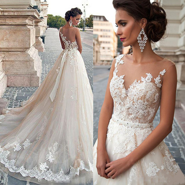 Scoop Illusion Wedding Dresses Long Lace Applique Beading Waist Sweep Train Bridal Gown Dress with Detachable Beading Sash 5