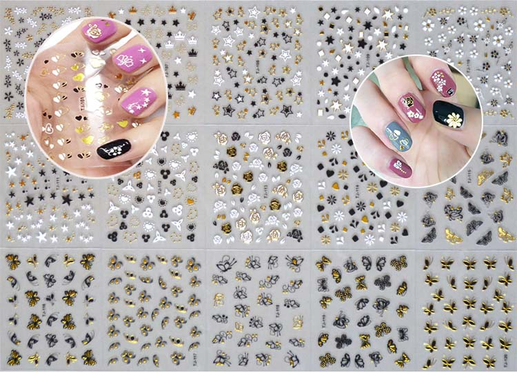 Adhesive Sticker 1 Set 30 Designs 3d Gold 3 Colors Flower Butterfly 3d Nail Art Stickers Decals Self Adhesive Nail Decorations
