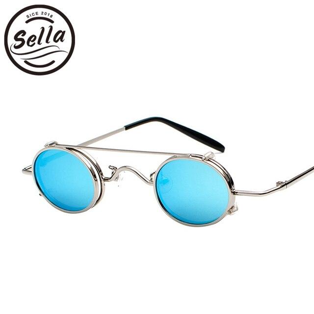 8feb462069f80 Sella 2018 Nova Moda Pequeno Quadro Oval Steampunk Homens Mulheres Óculos  De Sol Retro Espelho Redondo