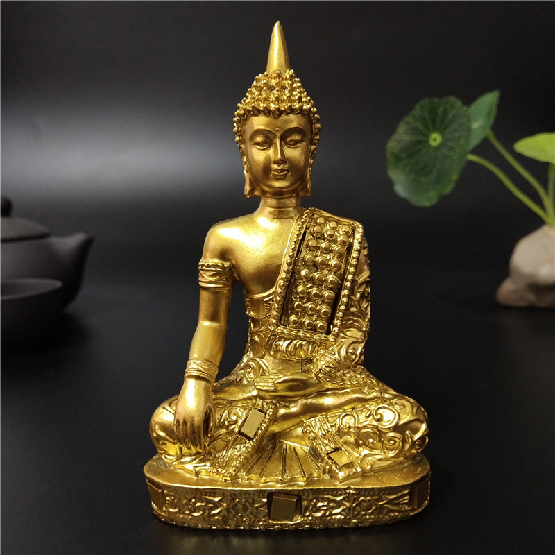 Golden Thailand Buddha Statue Hindu Fengshui Meditation Buddha Sculpture Figurines Ornaments Home Garden Decoration Statues