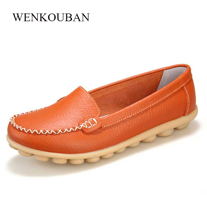 Slip On Flat Shoes Women Loafers Moccasins Shoes Summer   Leather   Ballet Flats Ladies Ballerinas White Rubber Chaussure Femme 2018
