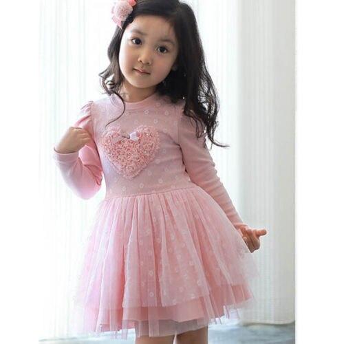 New Long Sleeve Cotton Heart Tulle Tutu Mesh Dress Pink Kids Girl Party Dress