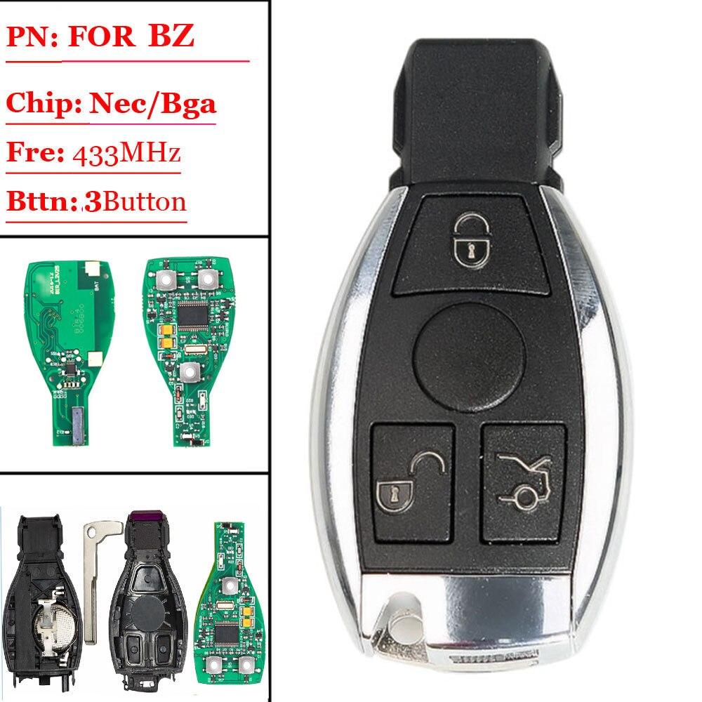 (1pcs/lot )Remote Control Smart Key  433MHZ 3 Button for M ercedes BENZ  replacment 2000+ Support NEC & BGA Keyless remote|Sensor & Detector| |  - title=