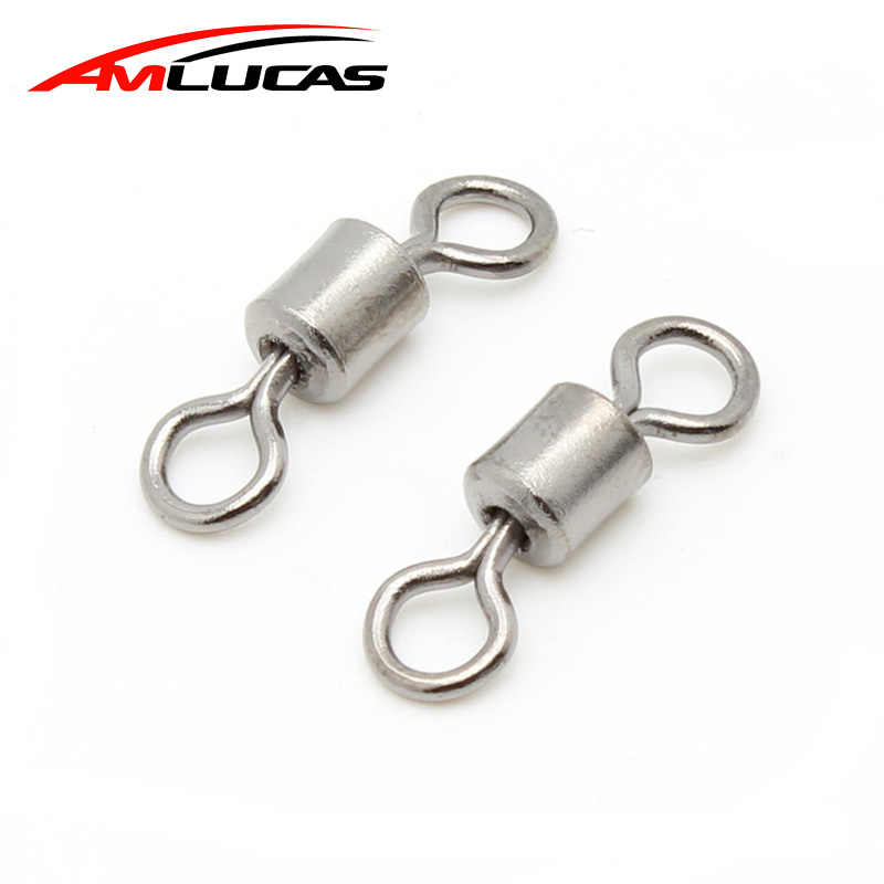 Amlucas 50pcs Stainless Steel Ball Bearing Swivel Solid Rings Fishing Connector for Fishing Hook Fishing Lure Accessories WE294