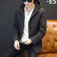 Mens new wave thick padded coat jacket Winter Slim Korean version of warm hooded clothes