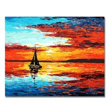 WONZOM Boat Landscape Paint By Numbers Oil Painting On Canvas With Frame Home Decor Wall Art For Living Room Acrylic Paint(China)