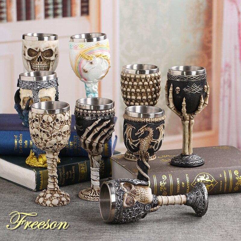 Copas Retro de cristal de vino de garra de calavera de dragón de acero inoxidable de resina gótica