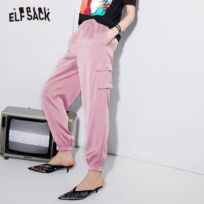 ELF SACK Pink Vintage Cargo Pants Women Casual Solid Elastic Waist Female Pants 2019 Spring Summer Fashion Korean Woman Bottoms-in Pants & Capris from Women's Clothing    1