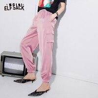 ELF SACK Pink Vintage Cargo Pants Women Casual Solid Elastic Waist Female Pants 2019 Spring Summer Fashion Korean Woman Bottoms