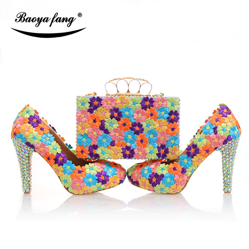BaoYaFang Multicolor flower shining crystal womens wedding shoes with matching bags Clutches high heels female Pumps baoyafang red crystal womens wedding shoes with matching bags bride high heels platform shoes and purse sets woman high shoes