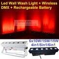 Recarregável led da lavagem da parede de luz 6x18 w rgbwa 6in1-uv led linha Luzes Bar Com Arruela DJ Disco DMX Sem Fio e Bateria iluminação
