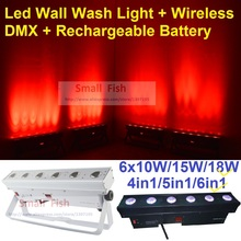 Rechargeable Led Wall Wash Light 6x18W 6in1 RGBWA-UV LED Line Bar Lights With Wireless DMX and Battery DJ Disco Washer Lighting