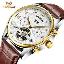 BINSSAW men watch wrist of luxury brand automatic mechanical watch fashion leisure leather sports watches relogio masculino 2017