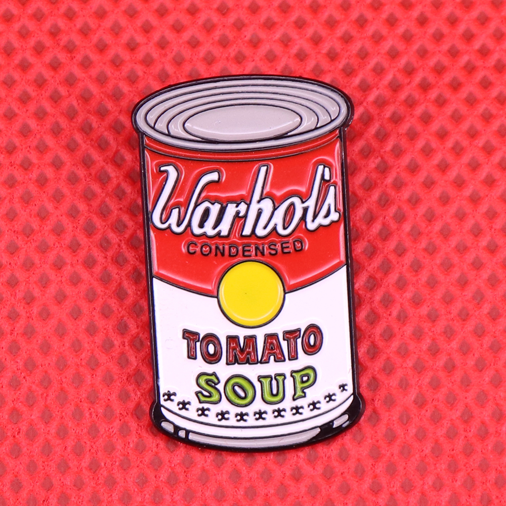 Campbell's soup cans pop art pin tomato soup brooch Andy Warhol painting jewelry artist gift commercial logo badge shirts jacket image