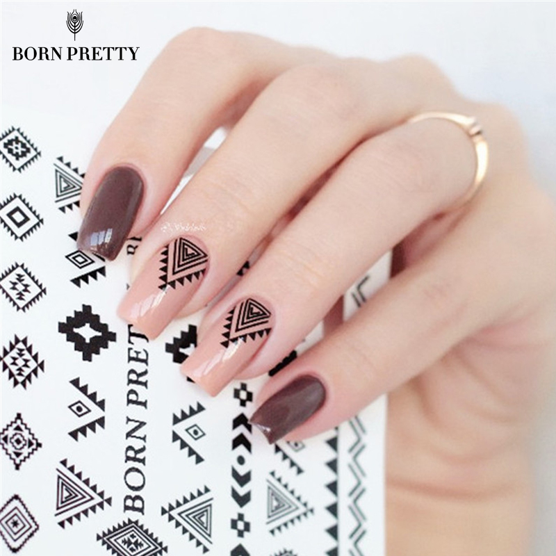 купить 2 Patterns/Sheet BORN PRETTY Triangle Diamond Shape Nail Art Water Decals Transfer Sticker BPY05 дешево