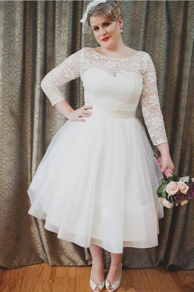 Simple Plus Size Short Wedding Dress Vintage A-Line Lace Long Sleeve Tea Length Bridal Gowns Wedding Gown Hot Sales Custom Made