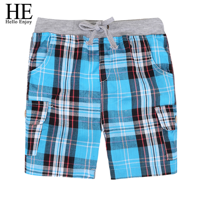 HE Hello Enjoy Toddler Boy Shorts Summer Plaid Lace Blue Swimwear Beach Shorts Baby Boy Harem Pant Shorts Children Clothing 2-8T