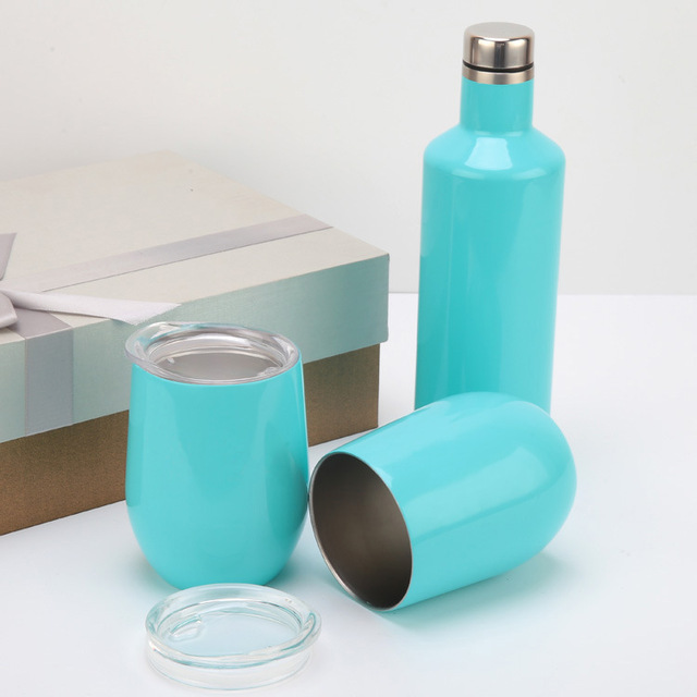 82f0974b5a1 500ML Wine Bottle + 2pcs 12oz Mug 304 Stainless Steel Wine Glasses Tumbler  Double Wall Vacuum Insulated Beer Mug with Gift Box