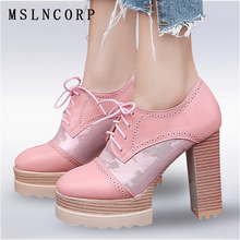 Plus Size 34-43 fashion Spring Autumn Platform Shoes Women Lace Up Sexy Thick High Heel Ladies Dress Party Pumps Casual Shoes