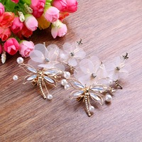Retro Baroque High End Handmade Dragonfly Hair Accessories Crown Edge Clip Bride Bride Jewelry Boutique Headdress