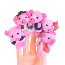 ZTOYL High Quality 5pcs Super Kawaii The Little Pigs Piggy Finger Puppet Children Educational Story Song Telling Plush Puppet(China)