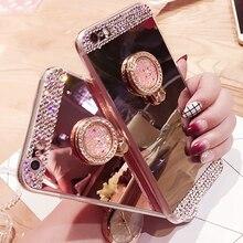 Luxury Case for Funda iPhone 7 8 Diamond Glitter Mirror Soft TPU Silicone Cover Coque Plus 6 5 SE XR XS MAX