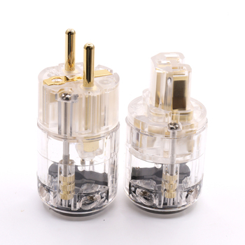 ايفي شفافة الذهب مطلي EUR Schuko الطاقة ملحق تمديد كابلات التوصيل IEC موصل سالب 1 زوج الذكور الإناث المكونات