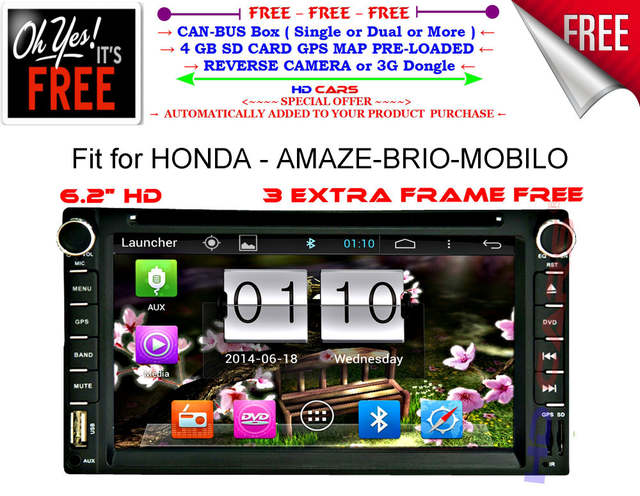 Fit for HONDA AMAZE BRIO MOBILO dual core Android 4 4 CAR DVD gps  navigation player with FREE map camera
