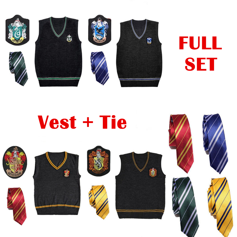 Harri Potter Vest + Tie Gryffindor Slytherin Hufflepuff Ravenclaw Wool Sweater School Uniform Fancy Dress Costume Cosplay