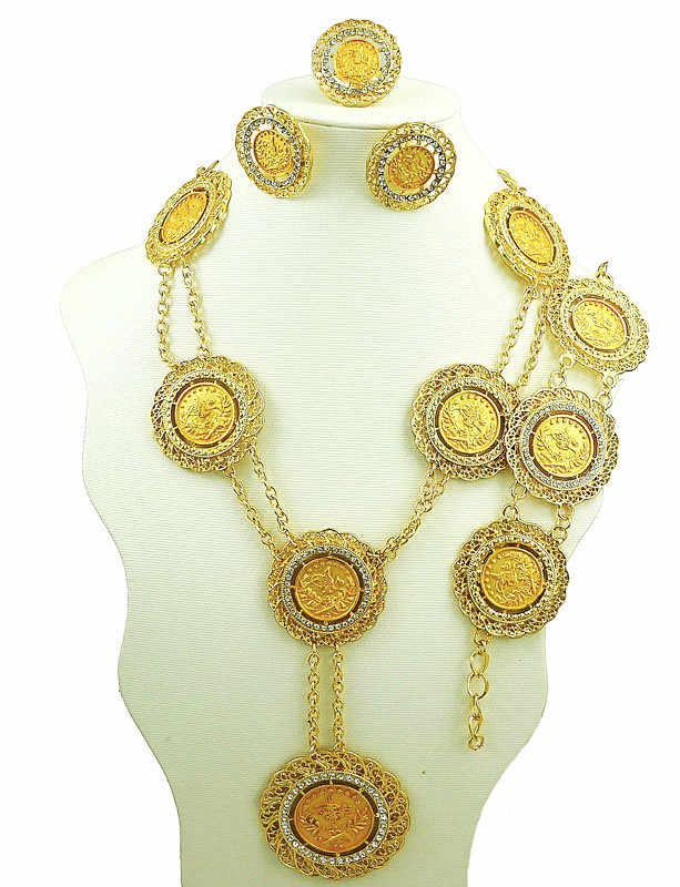 Afrikanische gold große schmuck-sets hochzeit schmuck sets tief gold farbe frauen große halskette neue design großhandel preis schmuck