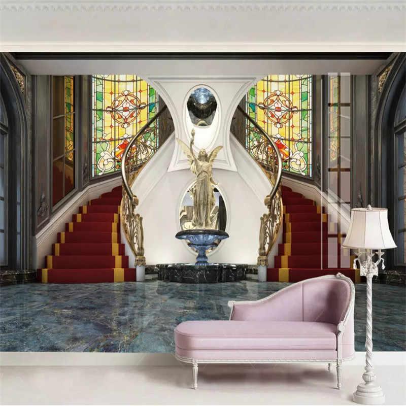 Пользовательские Настенные обои 3D европейские роскошные виллы фото обои 3D стереоскопический крыльцо расширение пространства Настенный декор