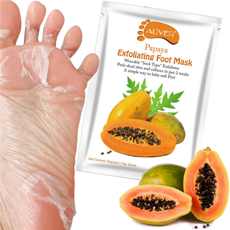 Aliver Papaya Exfoliating Peel Foot Sock Mask Baby Soft Feet Removes Dead Skin