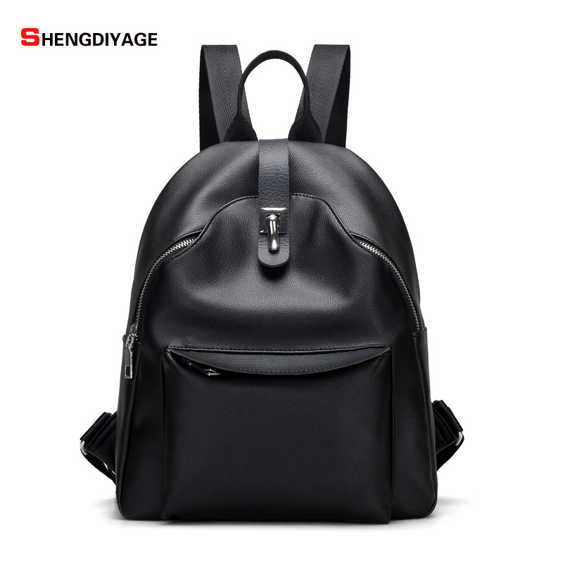 SHENGDIYAG Fashion Women Backpack High Quality PU Leather Backpacks for Teenage Girls Female School Shoulder Bag
