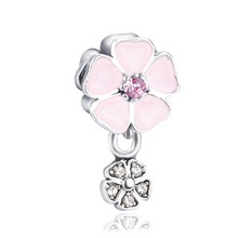 Pink White Flower Beads Charm Fits Pandora Charms  Original Jewelry Beads for Jewelry Making Bracelet ENM382