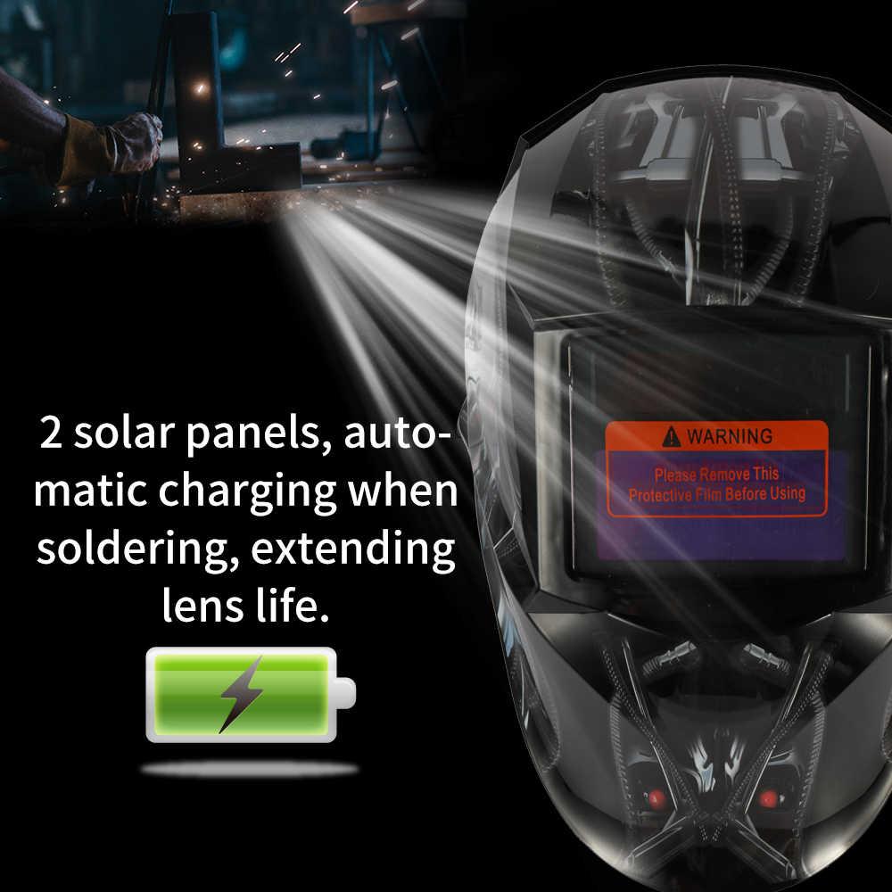 Черный череп солнечной энергии Автоматическая переменная свет сварочные маски TIG точечной сварки шлем с регулируемым оголовьем ручка