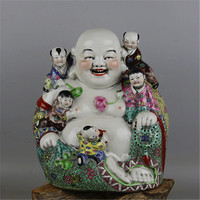 Antique Chinese porcelain statue,Pastry Five children Buddha sculpture,painted crafts,Decoration,Collection&Adornment