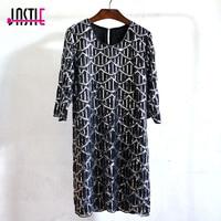 Jastie Wave Pattern Beaded Sequins Dress O Neck Half Sleeve Mini Dress Vintage Chiffon Party Dresses