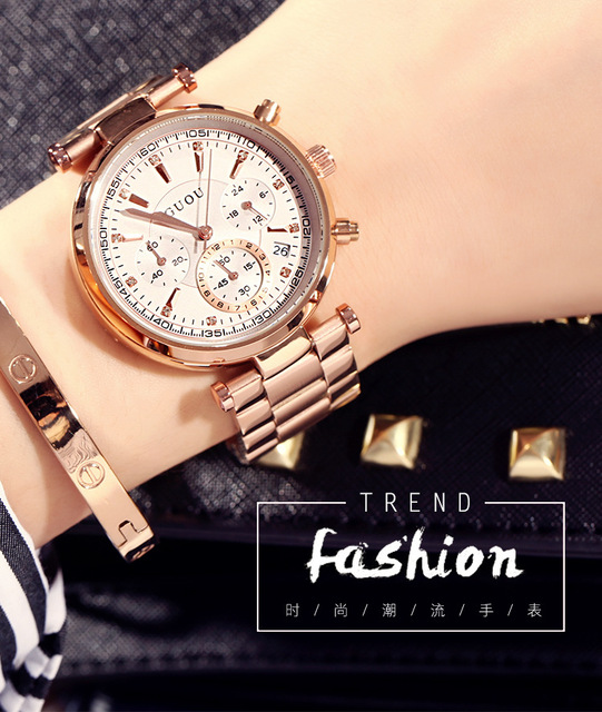 Fashion Real 3 Eyes Work GUOU Rose Gold Steel Quartz Women Ladies Wristwatches W