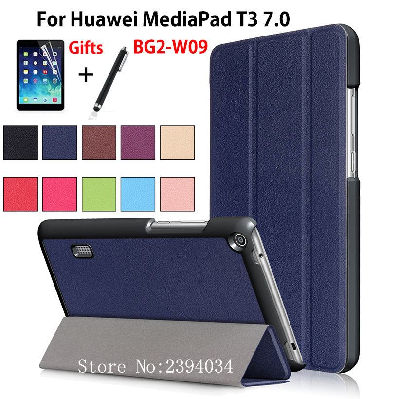Ultra Slim Magnetic Case for Huawei MediaPad T3 7.0 BG2-W09 Smart Cover PU Stand Funda Tablet for Honor Play Pad 2 7.0 +Film+Pen case for huawei honor 7x shockproof with stand 360 rotation back cover contrast color hard pc