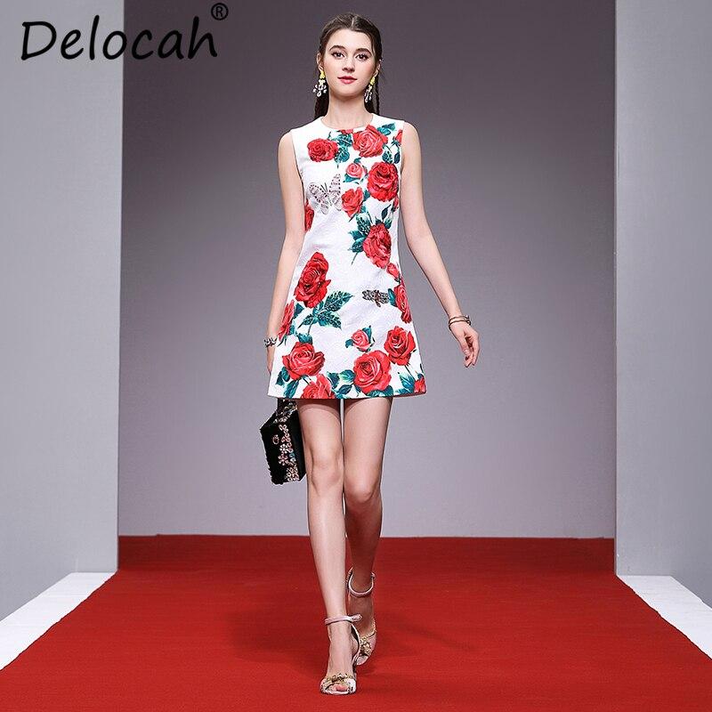 Delocah mujeres Primavera Verano vestido pasarela moda diseñador sin mangas Rosa apliques cuentas Jacquard una línea elegante Vestido corto-in Vestidos from Ropa de mujer    1