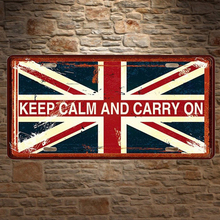 1 pc Keep calm and carry on Britain London UK plaques Tin Plates Signs wall man cave Decoration Metal Art Vintage Poster