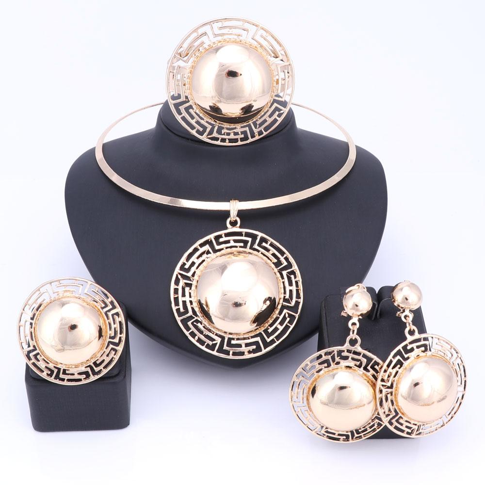 Svatební Svatební šperky Sady pro ženy náhrdelník náramek náušnice Prsteny Gold Barva Dubaj africké korálky prohlášení příslušenství