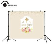 Allenjoy ungar bakgrund för fotografi kommunion dop guld prickar kors blommor gud välsignade bakgrund fotostudio nya photocall