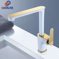 SOGNARE Solid Brass Kitchen Mixer Cold and Hot Kitchen Tap 360 Degree Rotate Single Lever Mixer Tap White & Golden Water Faucet