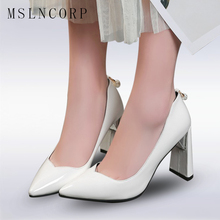 plus Size 34-46 high heels shoes black and white women pumps sexy point toe red wedding shoes thick heel party concise pumps недорого