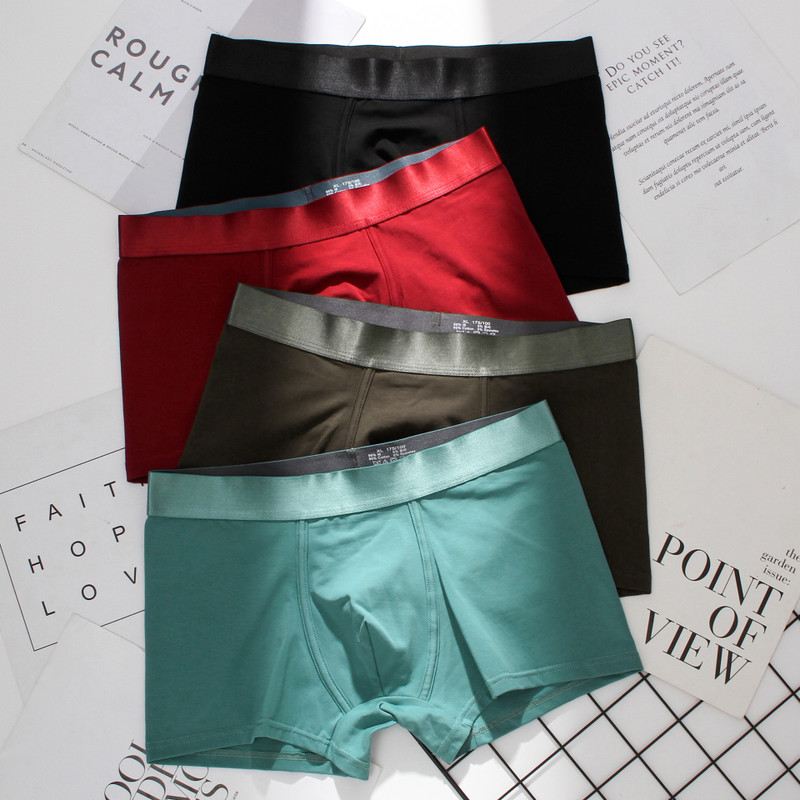 Underwear Men's Cotton Boxer Solid Color Men's boxers Shorts Mid-rise Boxer Men's Underwear