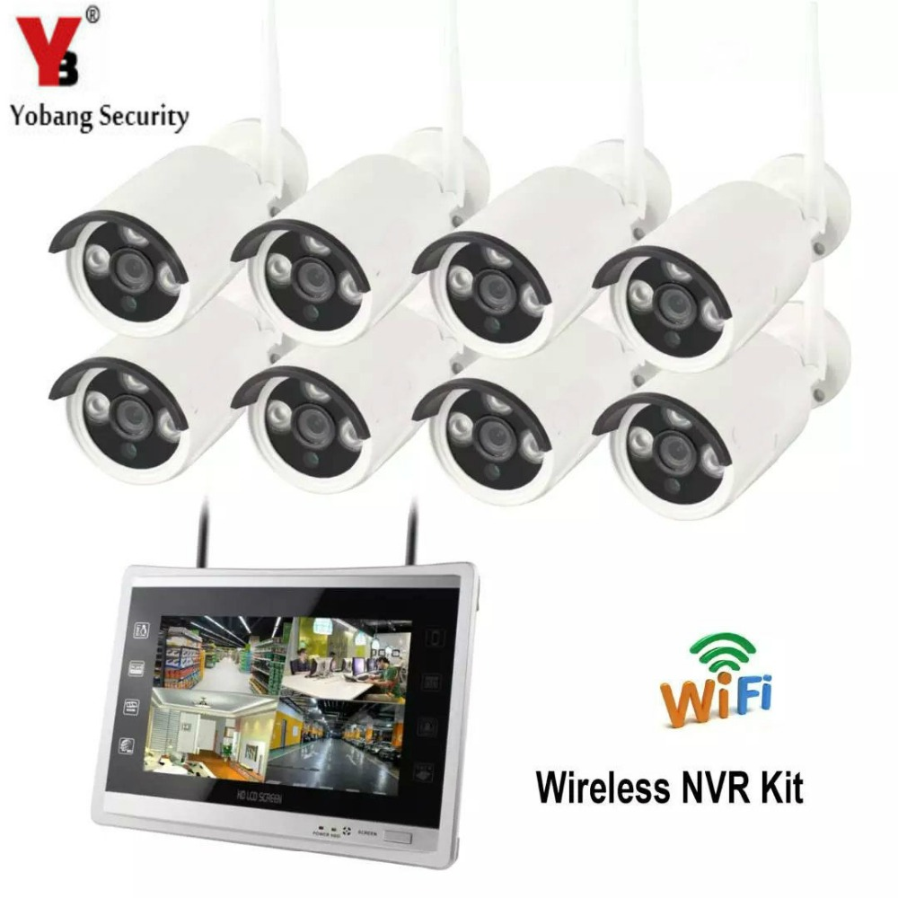 Yobang Security 12 inch Monitor 8CH Wireless NVR CCTV Camera Security System 1.3MP Outdoor WIFI IP Camera Video Surveillance Kit